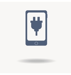 Mobile phone icon with charger blue icon single vector