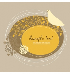 Floral frame with bird vector