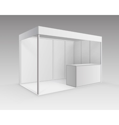 White trade exhibition stand for presentation vector