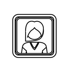 Contour square border with silhouette half body vector