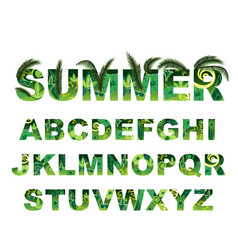 summer green alphabet capital tropical vector image