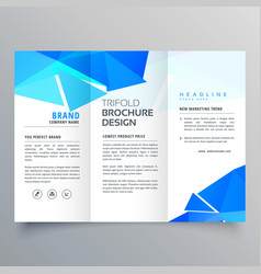 Abstract geometric blue shapes trifold brochure vector