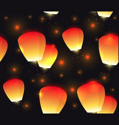 Seamless festive texture sky lanterns and sparks vector