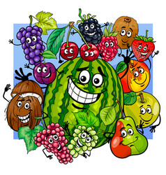 Witty fruit characters group cartoon vector
