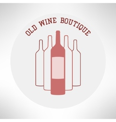 Old wine boutique shop icon in modern flat design vector