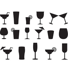 Juice and cocktail glasses vector
