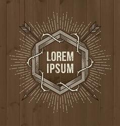 Line art vintage emblem vector