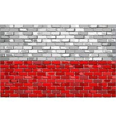 Grunge flag of poland on a brick wall vector