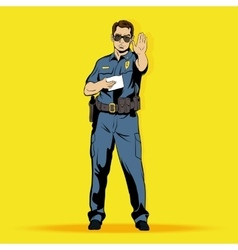 Police officer comics character vector