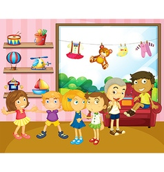 Children playing in the room vector image