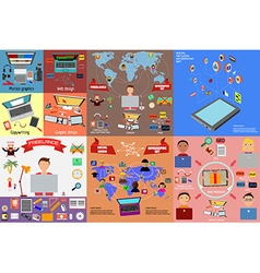 freelancers and teamwork infographics set vector image