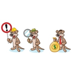 Tan meerkat mascot with money vector