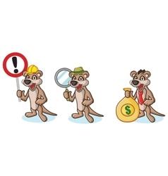 Tan Meerkat Mascot with money vector image
