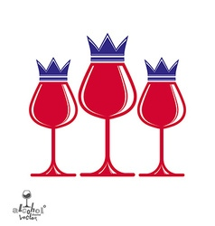Elegant luxury wineglasses with king crown graphic vector