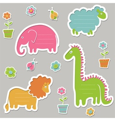 Text frames in the shape of animals vector image