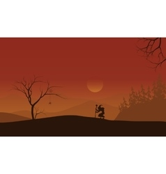 Silhouette of halloween witch lonely vector