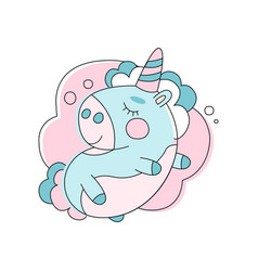 adorable unicorn sleeping on cloud line icon with vector image vector image