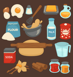 Baking ingredients and tools for bread and pastry vector