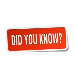 Did you know square sticker on white vector