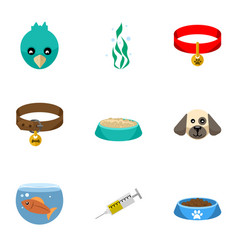 Flat icon animal set of fishbowl puppy seaweed vector