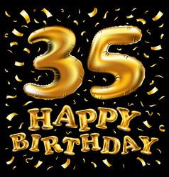 Golden number 35 thirty five metallic balloon vector