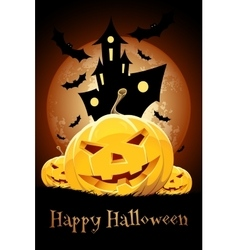 Halloween party card with pumpkins vector