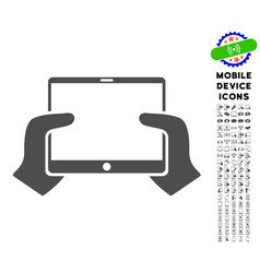 Hands hold pda icon with set vector