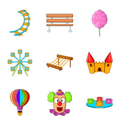 hippodrome icons set cartoon style vector image vector image