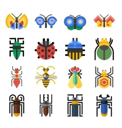 Insects geometric icons set vector image vector image