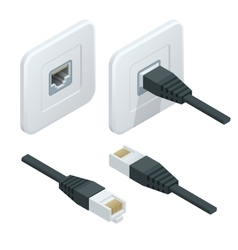 Isometric network socket icon LAN cable vector image