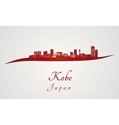 Kobe skyline in red vector image