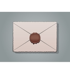Mail envelope or letter sealed with wax seal stamp vector