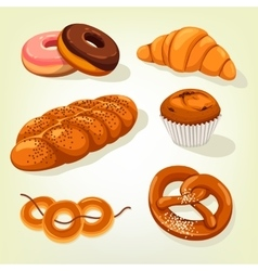 Multigrain bread and bakery cake croissant vector