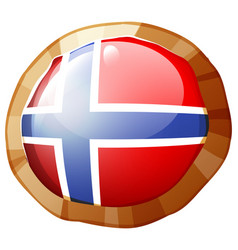Norway flag on round frame vector