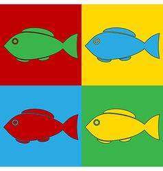 Pop art fish icons vector