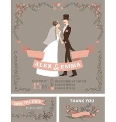 Retro wedding invitation setBridegroomfloral vector image vector image
