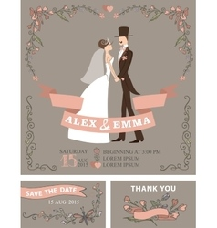 Retro wedding invitation setBridegroomfloral vector image