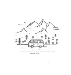 Road trip flat line vector