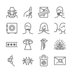 Secret and confidential line icon set vector