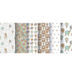 Set of seamless cute patterns with cartoon sheep vector