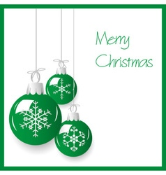 shiny green christmas decoration baubles hanging vector image
