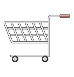 shopping cart with wheels icon cartoon style vector