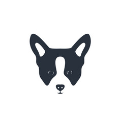 Silhouette dog head icon dog face simple design vector
