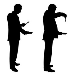 Silhouettes of men with plates and forks vector