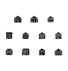 Small retail trade black glyph style icons vector