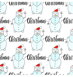 Snowman seamless pattern for christmas and winter vector