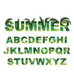 summer green alphabet capital tropical vector image vector image