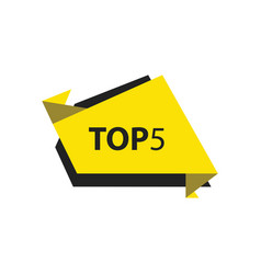 Top5 text in label black yellow vector