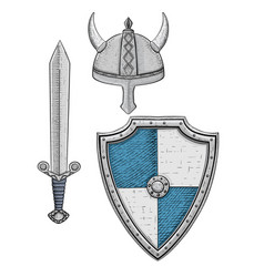 viking armor set - helmet shield and sword vector image vector image