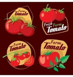 Vintage tomato labels emblems and badges vector image